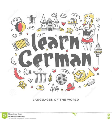 learn german concept illustration stock vector