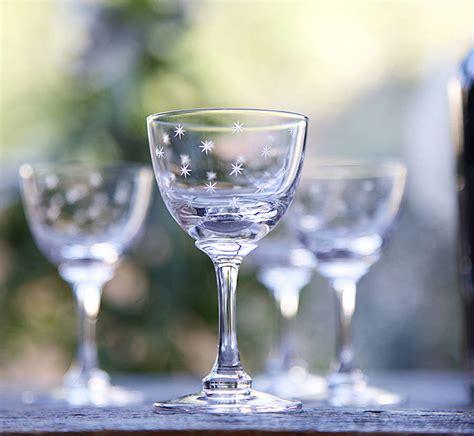 Set Of Six Star Design Liqueur Glasses By The Vintage List