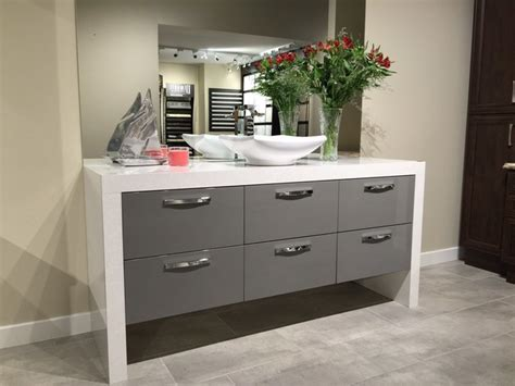 Euro Style Grey Hi Gloss Vanity with Waterfall Top