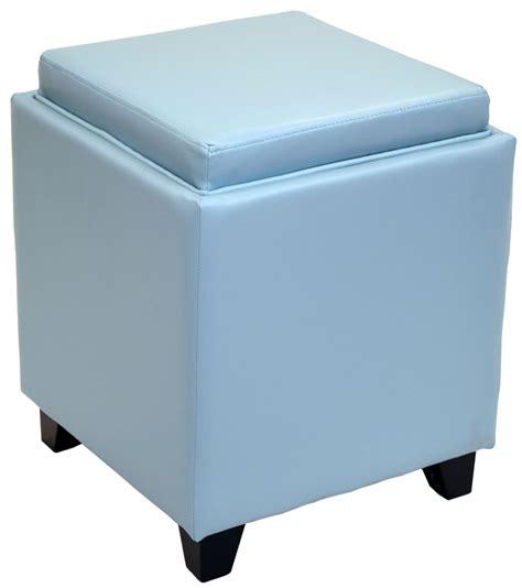 leather storage ottoman with tray rainbow sky blue bonded leather storage ottoman with tray