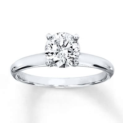diamond solitaire ring 1 carat cut 14k white gold