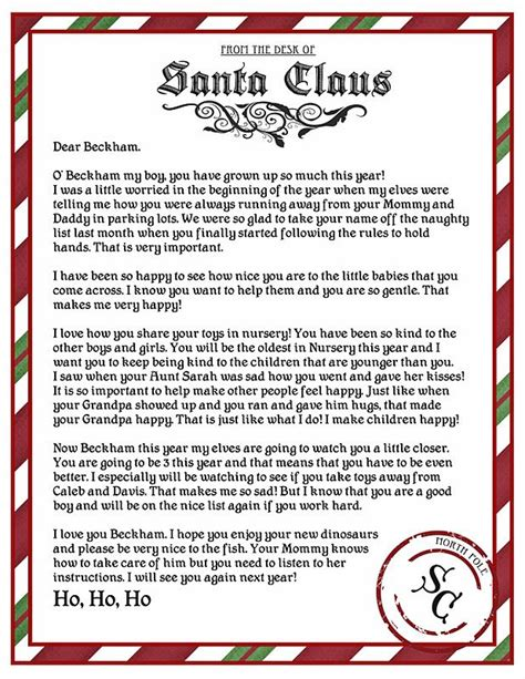 ideas  letter  santa template