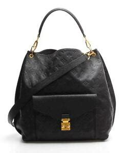 louis vuitton black monogram empreinte leather metis hobo
