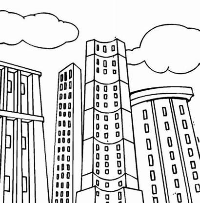 Coloring Building Pages Apartment Tall Printable Blocks