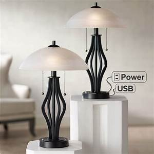 Black, Nightstand, Lamps, Table, Lamps