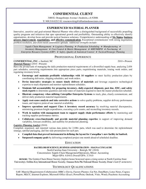Material Planning Manager Resume by Sle Resume Experienced Material Planner By Dillard