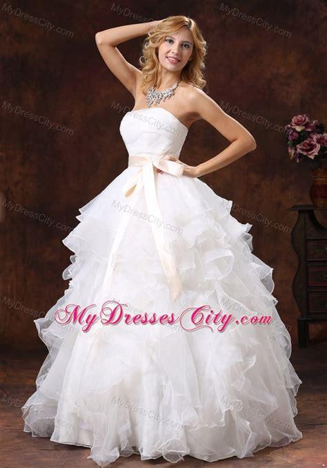 ruffled layers strapless princess organza wedding dresses