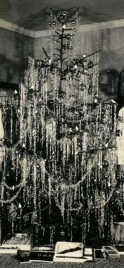 vintage tree with string tinsel santa baby pinterest