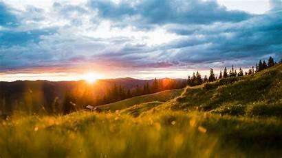 Landscape Sun Mountains Sunrise Sunlight Meadow Laptop