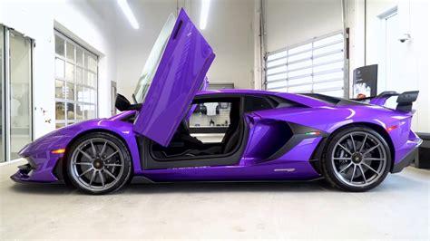 purple lamborghini aventador svj