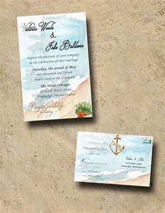 Custom beach wedding invitations with rsvp destination for Wedding invitations 50 cents each