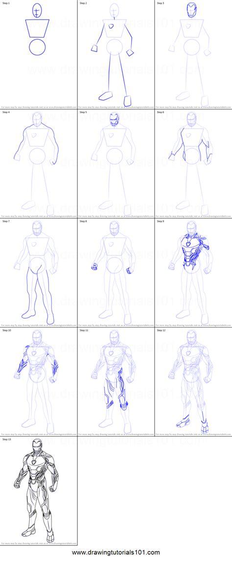 draw iron man  avengers endgame printable step