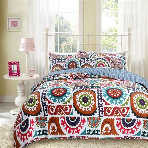 Colorful Coverlets by Dada Bedding Bohemian Colorful Floral Reversible Quilted