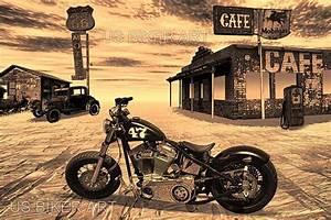 Route 66 En Moto : harley davidson bobber moto route 66 nostalgique road trip art ~ Medecine-chirurgie-esthetiques.com Avis de Voitures