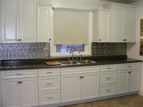 White Transitional Kitchen, Staggered Wall Cabinets, Metal