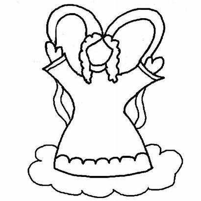 Angel Coloring Pages Clipart Wings Outline Printable