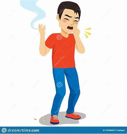 Hoesten Het Mens Roken Tosse Fumo Uomo