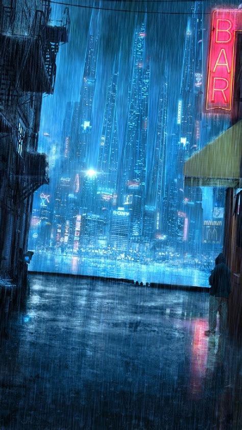 anime girl rain iphone wallpaper rainy night street iphone 5s wallpaper enter my