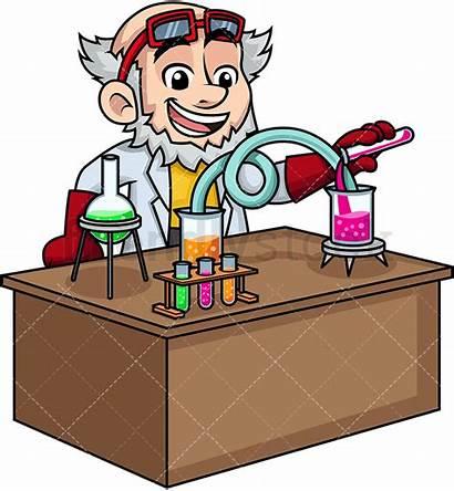 Scientist Lab Clipart Crazy Working Cartoon Science