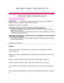 Resume Writing Exles For Makeup Artists by Cover Letter Exle Cover Letter Exle Industry