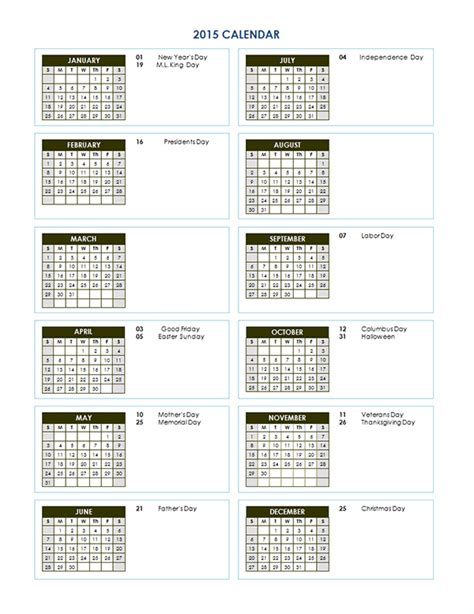 Free Downloadable 2015 Calendar Template 2015 Yearly Calendar Template 03 Free Printable Templates