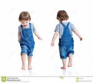Happy Little Boy Running. Front And Rear View Stock Image ...