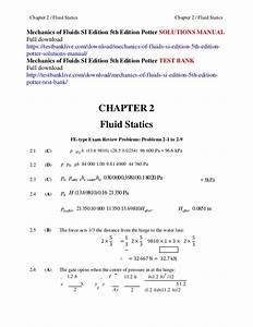 Mechanics Of Fluids Si Edition 5th Edition Potter