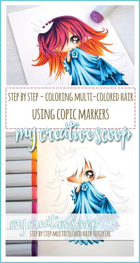 Coloring Using Copic Markers step by step how to color multi colored hair using copics
