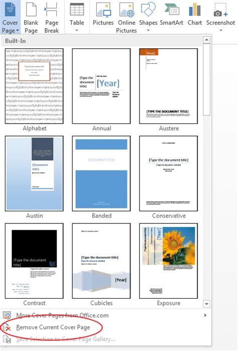 create  cover page  microsoft word