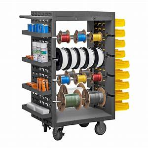 8 Rod Steel Mobile Wire Spool Rack Trolley