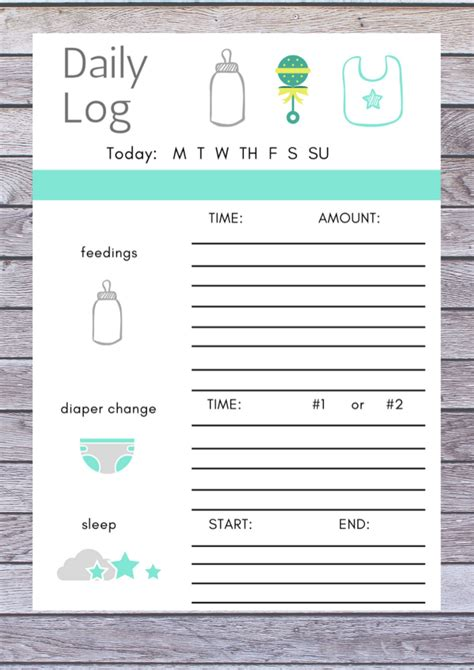 baby daily log printable baby checklist baby chart routine