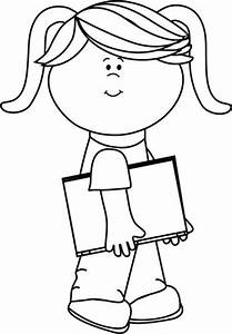 Girl clipart black and white - Pencil and in color girl ...