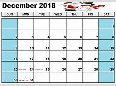 December Calendar 2018 Malaysia Free Printable Template