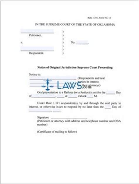 notice  original jurisdiction supreme court proceeding