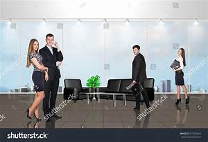 Younge People Modern Office Large Windows Stock Photo ...