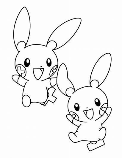 Pokemon Coloring Pages Advanced Plusle Printable Minun