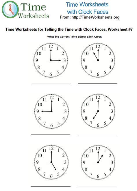 time math worksheets  clock faces  time worksheets org