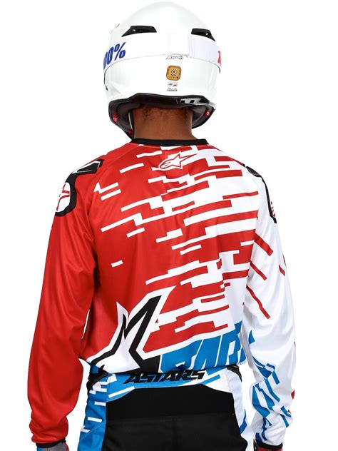 alpinestars motocross jersey alpinestars blue red white 2016 racer braap mx jersey