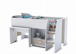 Lit Enfant Combiné : lit combine bureau axel blanc chene ~ Farleysfitness.com Idées de Décoration