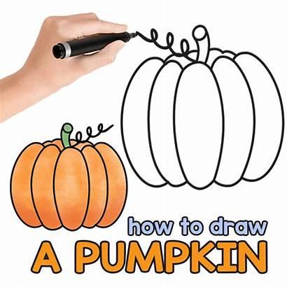 Pumpkin Drawing Draw Step Simple Easy Drawings