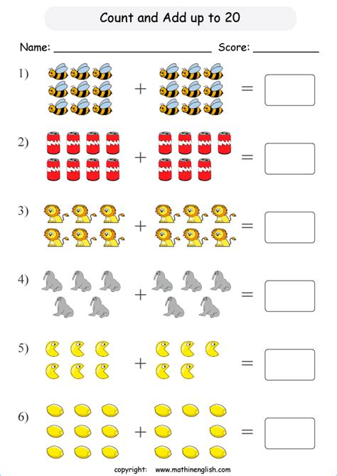 add up to 20 addition printable grade 1 math worksheet