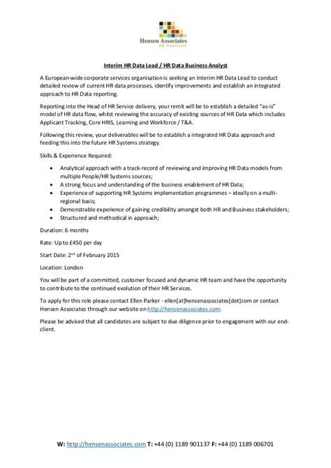 Hr Analyst Questions by Interim Hr Data Business Analyst