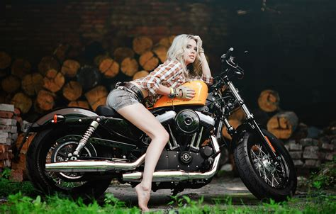 Wallpaper Girl, Harley, Motorcycle, Harley Davidson, Bike