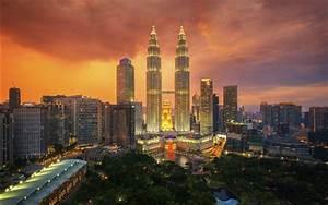 Wallpaper Kuala Lumpur, city night, skyscrapers, lights ...
