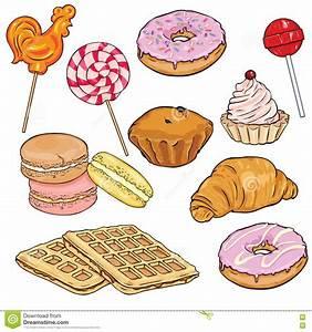 Vector Set Of Cartoon Desserts. Lolipops, Doughnuts ...