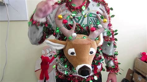 behemuth tacky ugly christmas sweater light up deer head