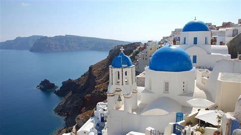 full hd wallpaper santorin island greece rock dream dome