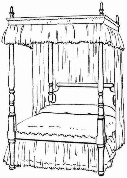 Bed Clipart Bedroom Canopy Clip Pages Coloring