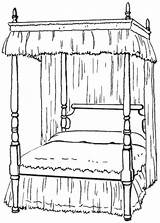 Bed Bedroom Canopy Clipart Coloring Colouring Clip Poster Pages Four Household Furniture Wpclipart Transparent Cliparts Library Sheets Sketch Twin Webp sketch template
