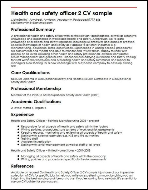 Workplace Health And Safety Officer Resume by Health And Safety Officer 2 Cv Sle Myperfectcv